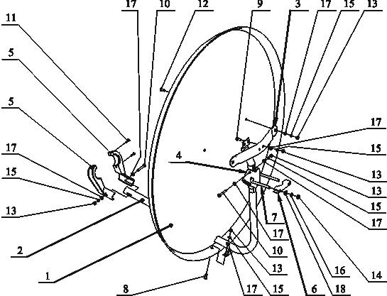Вот схема устройства офсетной спутниковой антенны.  1. Зеркало 2. Штанга несущая 3. Держатель 4. Кронштейн поворотный...